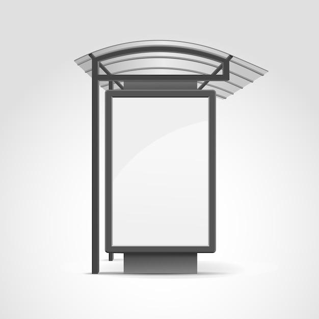 Fermata del trasporto pubblico con cartellone Vettore Premium