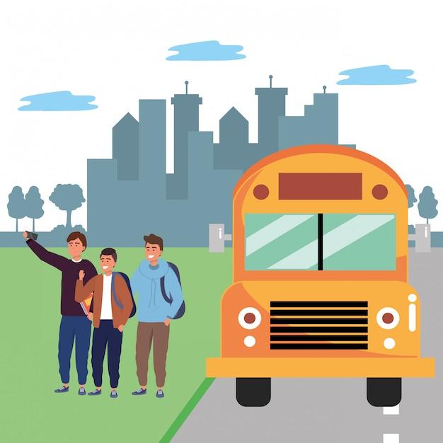 Fermata dell'autobus per gruppi di studenti diversi Vettore Premium