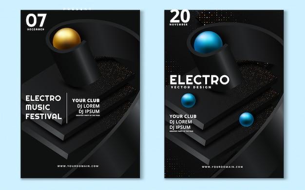 Fest di musica elettronica e electro wave wave poster. Vettore Premium