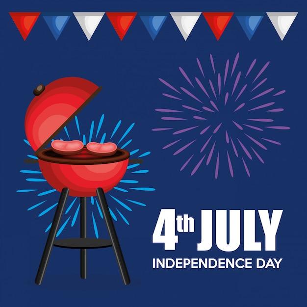Festa del barbeque di festa dell'indipendenza di usa Vettore gratuito