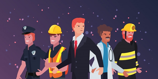 Festa del lavoro delle persone Vettore Premium