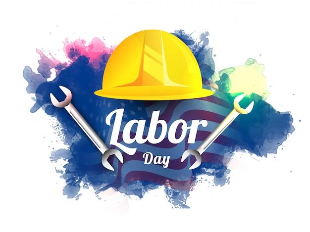 Festa del lavoro design con strumento lavoratore casco e chiave inglese su bandiera ondulata e effetto splash acquerello. Vettore Premium