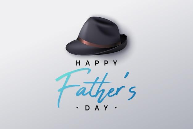 Festa del papà realistica e cappello maschile Vettore gratuito