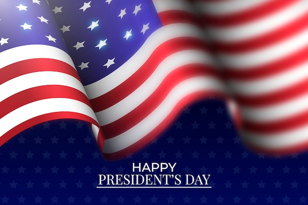 Festa del presidente con bandiera realistica Vettore gratuito