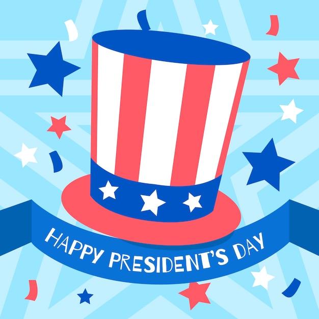 Festa del presidente con cappello e stelle w Vettore gratuito
