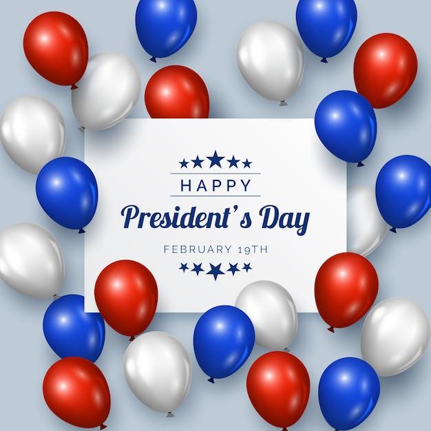 Festa del presidente con palloncini dal design realistico Vettore gratuito
