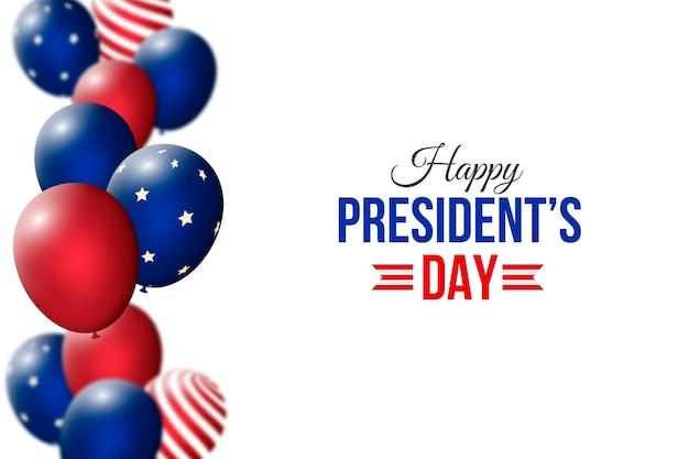 Festa del presidente con palloncini realistici Vettore gratuito