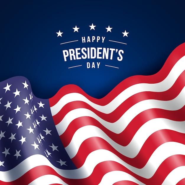 Festa del presidente con realistica carta da parati bandiera Vettore gratuito
