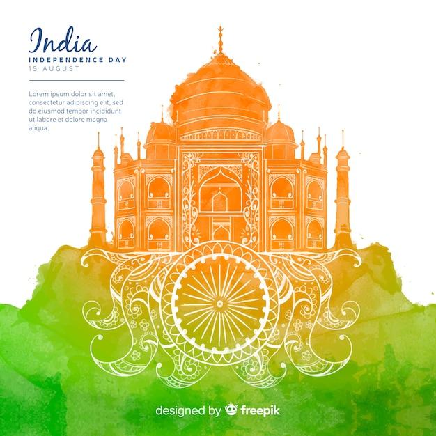 Festa dell'indipendenza dello stile acquerello sfondo india Vettore gratuito