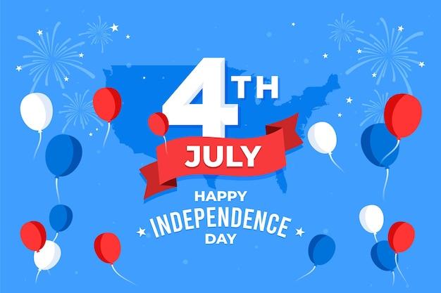 Festa dell'indipendenza palloncini sfondo con fuochi d'artificio Vettore gratuito
