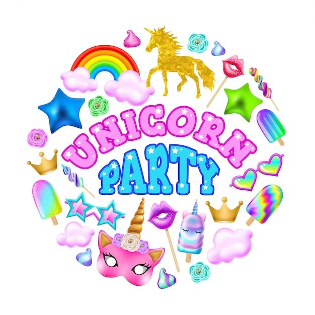 Festa dell'unicorno Vettore Premium