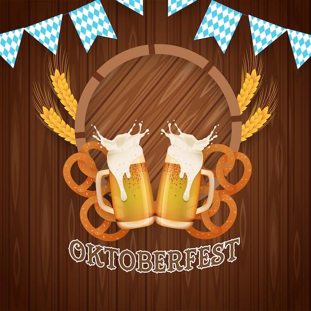 Festa della birra dell'oktoberfest. illustrazione con elementi più oktoberfest Vettore Premium