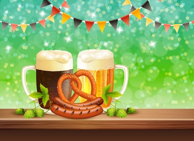 Festa della birra realistica Vettore gratuito
