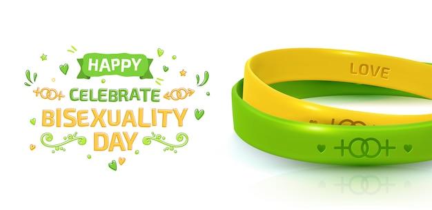 Festa della bisessualità. concetto di orgoglio lgbt con bracciali in gomma Vettore Premium