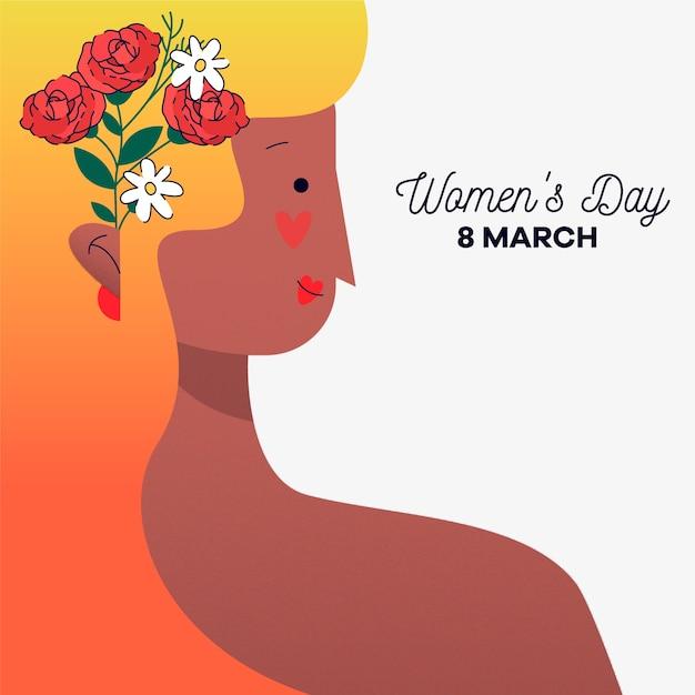 Festa della donna con donna con fiore tra i capelli Vettore gratuito
