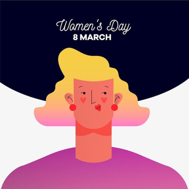 Festa della donna con donna e data Vettore gratuito
