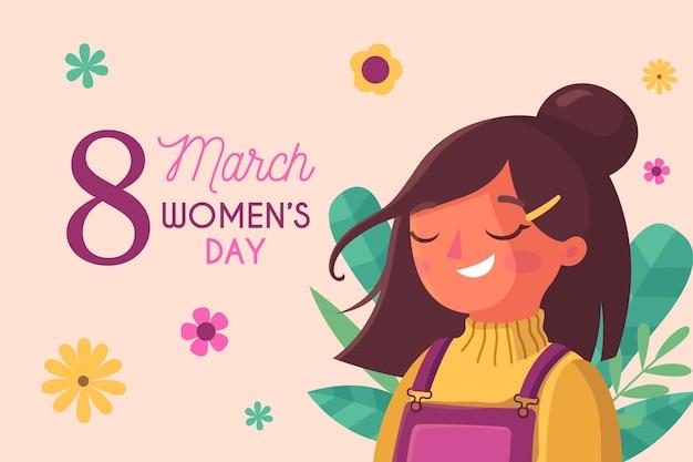 Festa della donna con felice donna spensierata Vettore gratuito