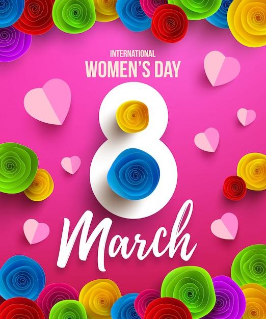 Festa della donna felice internazionale, 8 marzo vacanze poster o banner con fiori di carta festa della mamma felice. Vettore Premium