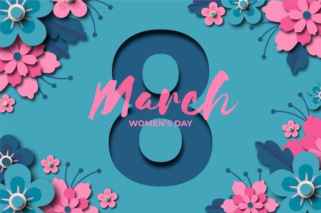 Festa della donna in stile carta con data Vettore gratuito