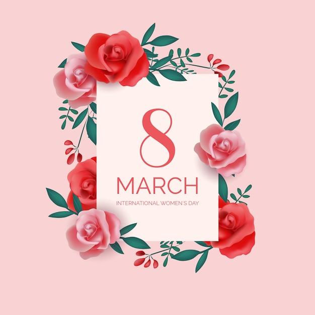 Festa della donna realistica 8 marzo con rose Vettore gratuito