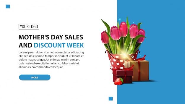 Festa della mamma e settimana di sconti, banner moderno sconto orizzontale Vettore Premium