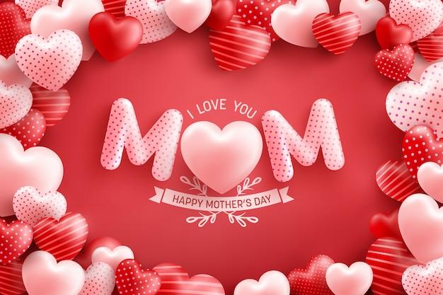 Festa della mamma poster o banner con tanti innamorati e su sfondo rosso modello di promozione e shopping o sfondo per il concetto di amore e festa della mamma Vettore Premium