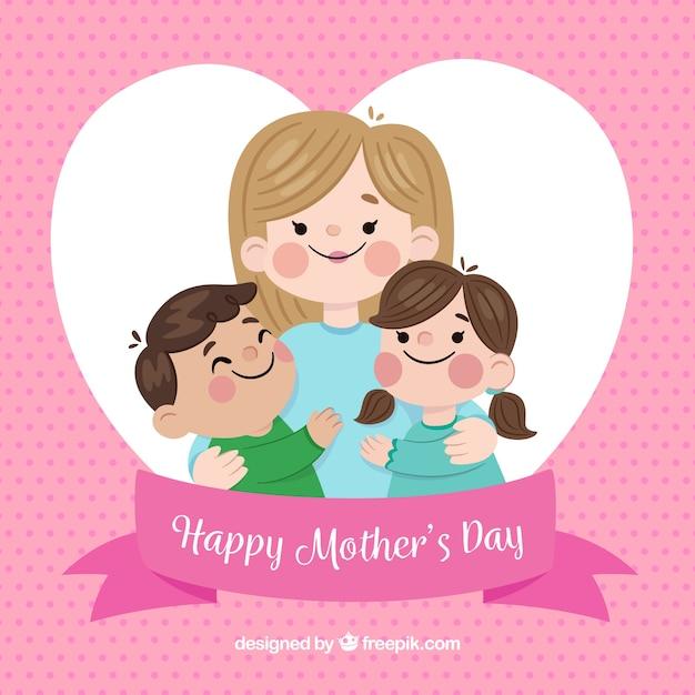 Festa della mamma sfondo con famiglia carino Vettore gratuito