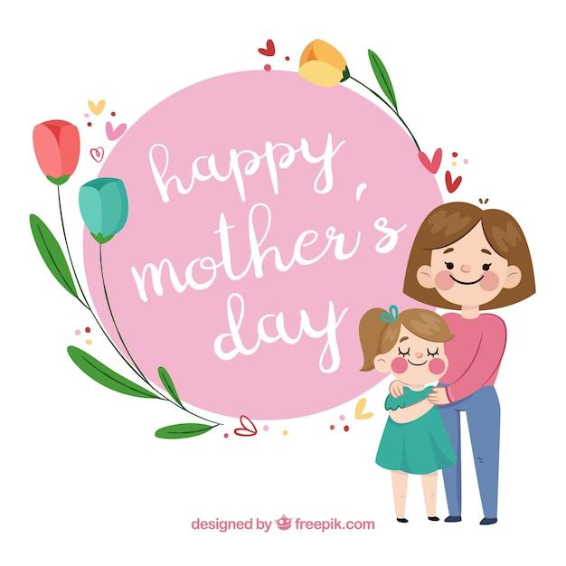 Festa della mamma sfondo con famiglia felice Vettore gratuito