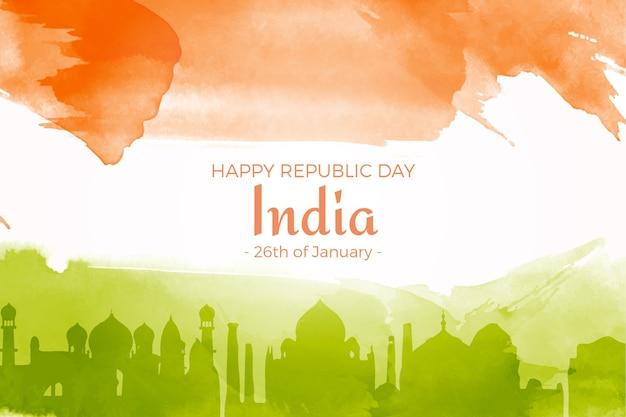 Festa della repubblica indiana dell'acquerello Vettore gratuito