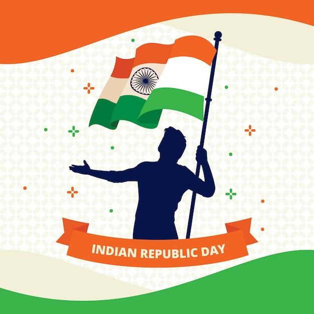 Festa della repubblica indiana in design piatto Vettore gratuito