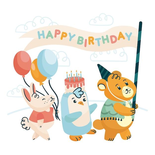 Festa di buon compleanno con animali selvatici Vettore gratuito