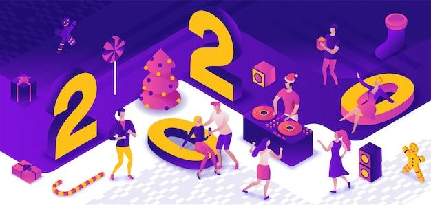 Festa di capodanno 3d isometrica Vettore Premium