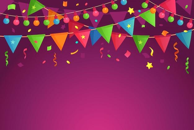 Festa di decorazione dei cartoni animati. celebra le bandiere di compleanno con i coriandoli, lo sfondo del festival e l'illustrazione di decorazioni di eventi divertenti Vettore Premium