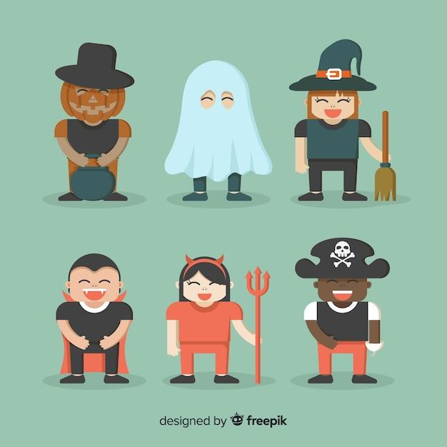 Festa di halloween con costumi per bambini Vettore gratuito