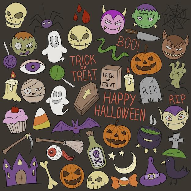 Festa di halloween feste doodle clip art Vettore Premium