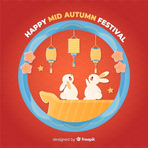 Festa di metà autunno disegnata a mano Vettore gratuito