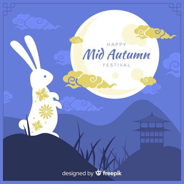 Festa di metà autunno piatto con coniglio bianco Vettore gratuito