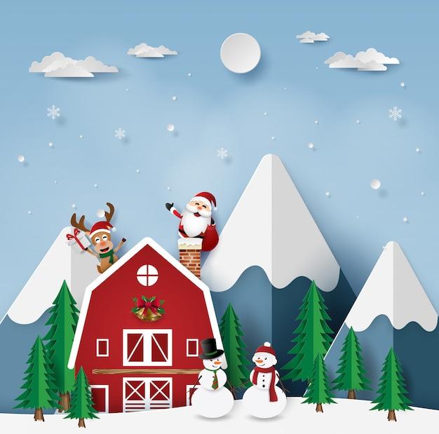 Babbo Natale In Casa.Festa Di Natale Con Babbo Natale In Casa Rossa Scaricare Vettori