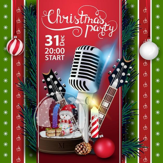 Albero Di Natale 852 Bambini.Festa Di Natale Modello Di Manifesto Con Chitarre E Globo Di Neve Vettore Premium