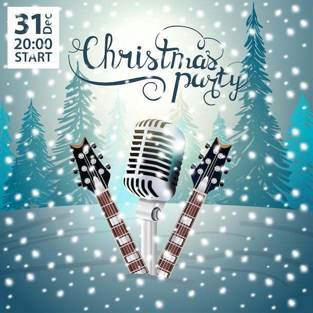 Festa di natale. poster moderno e luminoso con chitarre e microfono Vettore Premium