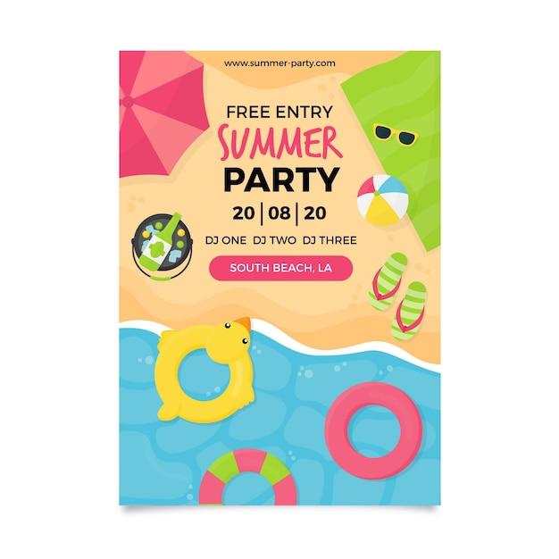 Festa estiva poster design piatto Vettore gratuito