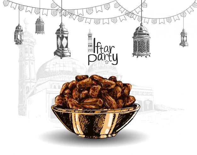 Festa iftar Vettore Premium