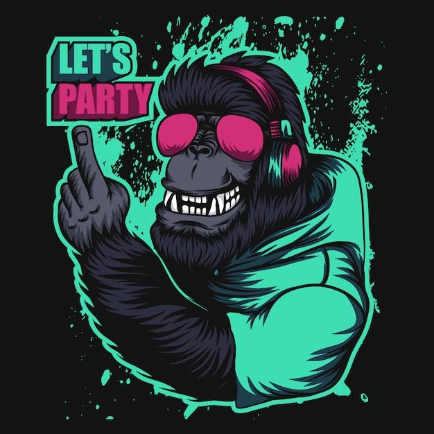 Festa in cuffia gorilla Vettore Premium