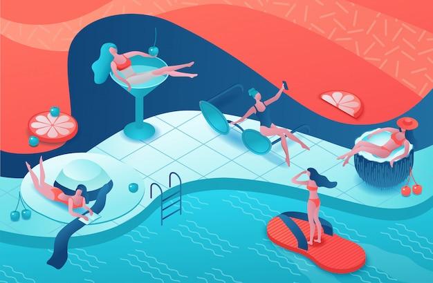 Festa in piscina isometrica 3d Vettore Premium