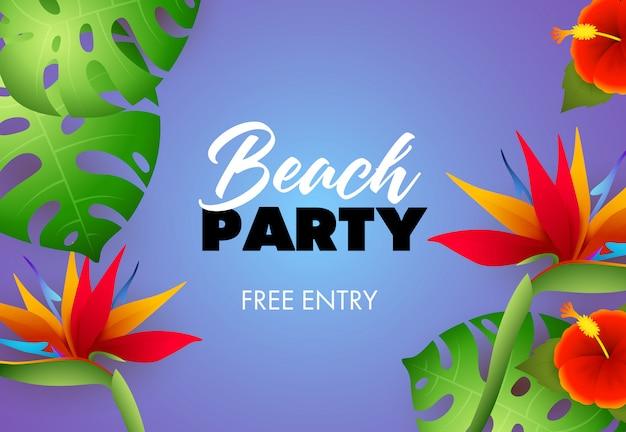 Festa in spiaggia, iscrizione gratuita con le piante tropicali Vettore gratuito