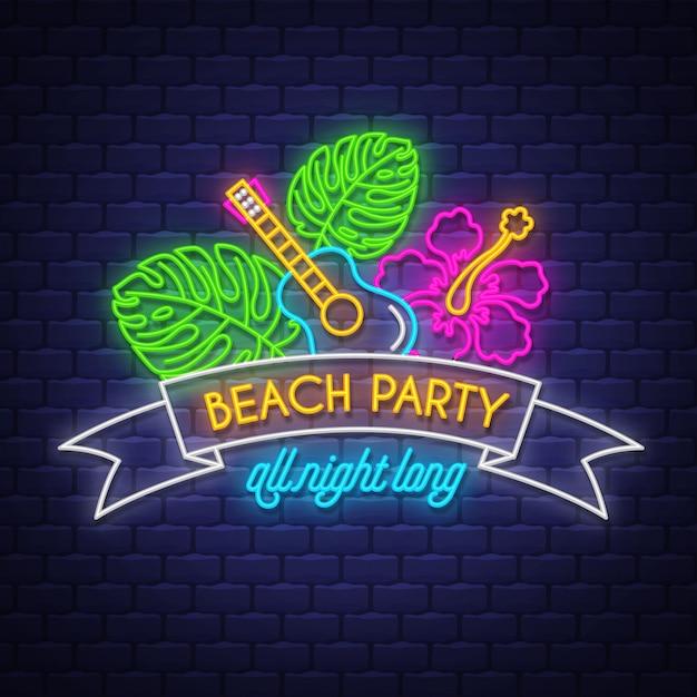 Festa in spiaggia tutta la notte, scritte al neon Vettore Premium
