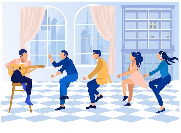 Festa in ufficio con persone danzanti e chitarrista Vettore Premium