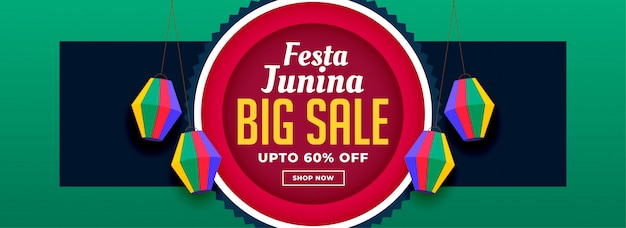 Festa junina banner design in vendita Vettore gratuito
