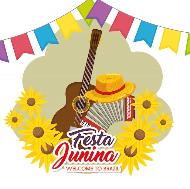 Festa junina design Vettore Premium