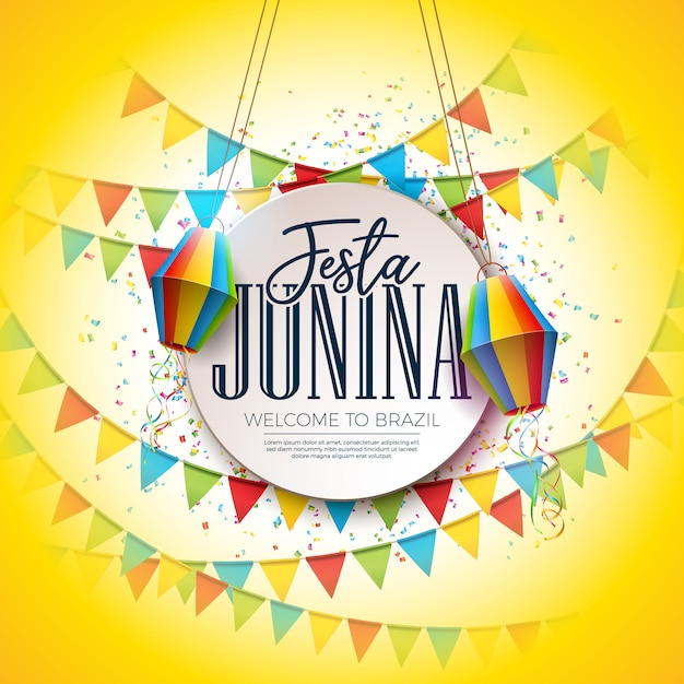 Festa junina festival design con party flags e paper lantern Vettore Premium